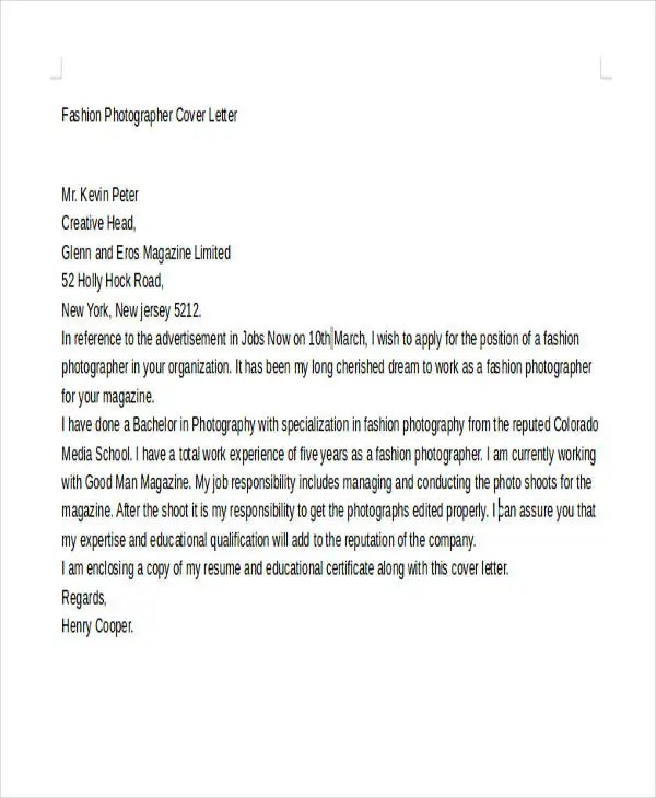 Photographer Cover Letters  10 Free Word PDF Format