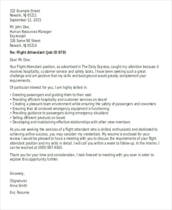 Flight Attendant Cover Letter  9 Free Word PDF Format