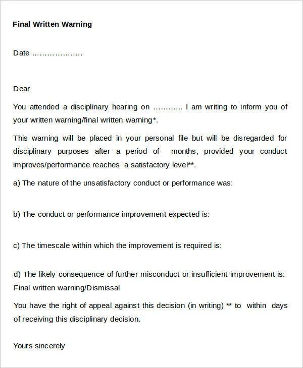 written warning templates