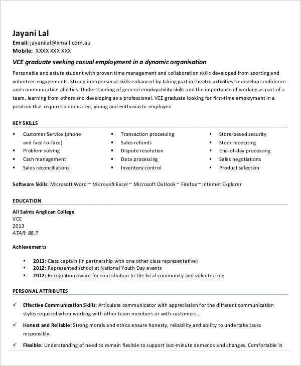best resume for first time job