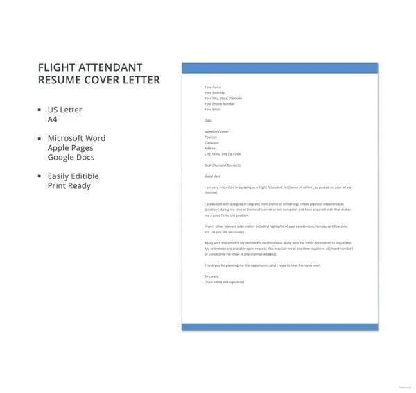 Flight Attendant Cover Letter 9 Free Word PDF Format