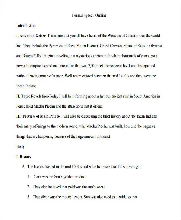 7 Formal Outline Templates  Free Sample Example Format Download  Free  Premium Templates