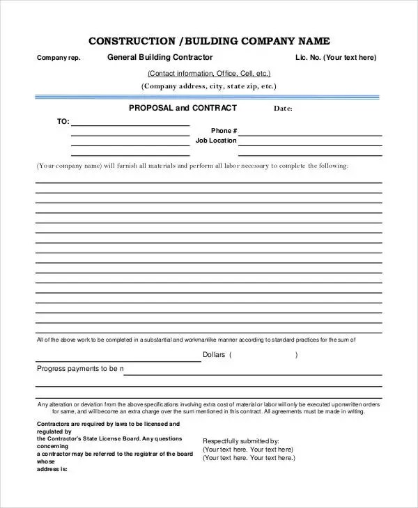 7 Construction Project Proposal Templates PDF Word