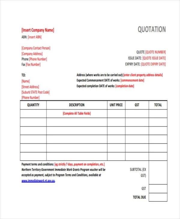 13 Professional Quotation Templates PDF Word Free