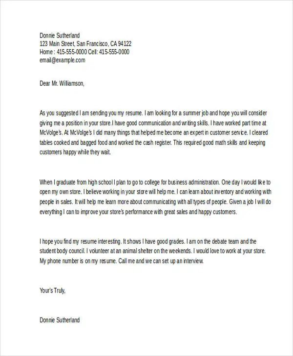 cover letter resume format examples for students