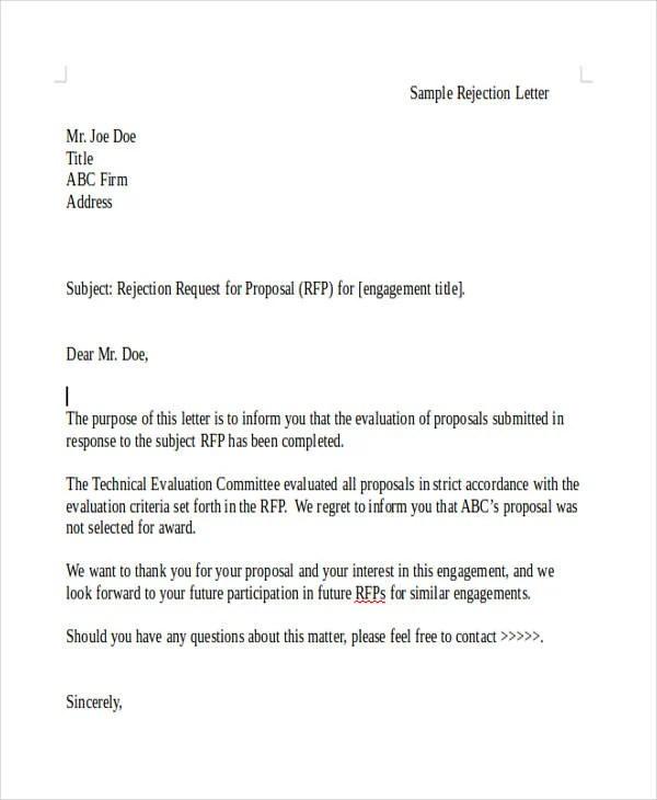 7 Grant Rejection Letter Templates Free & Premium Templates