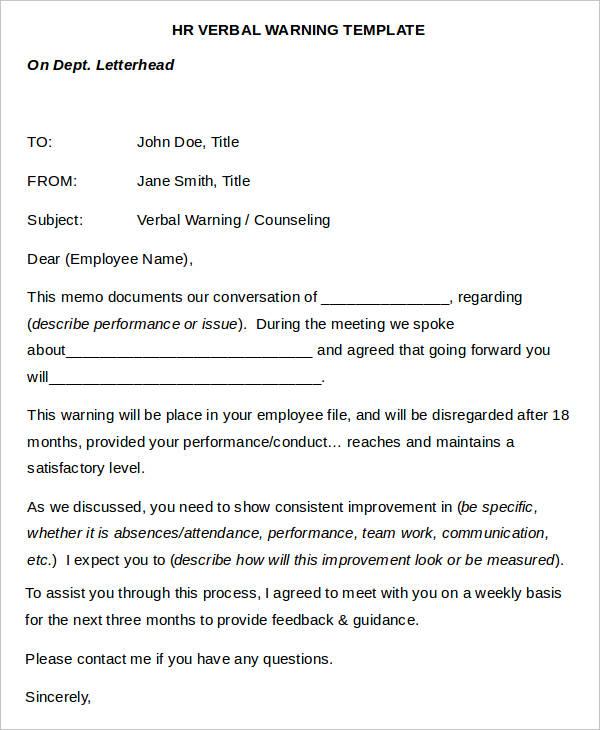 employee verbal warning form