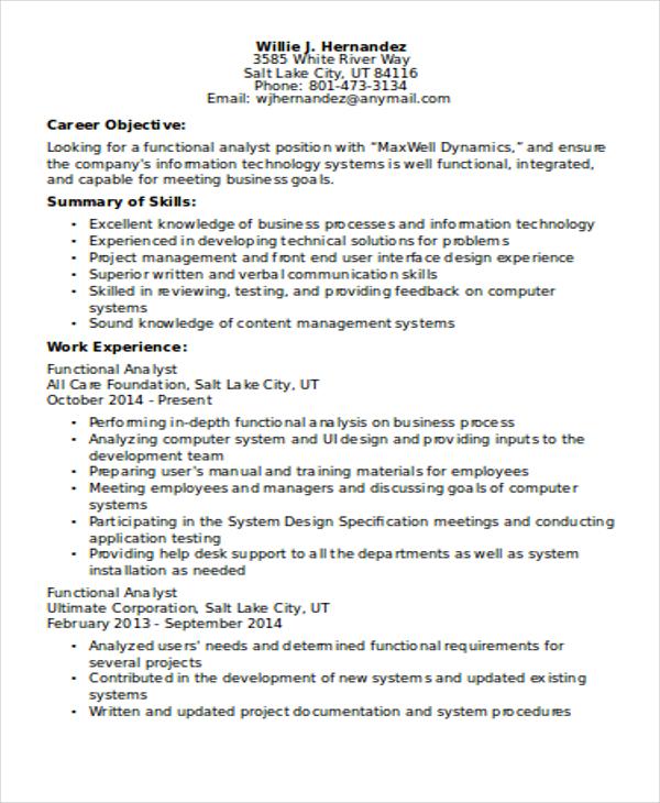 10 Functional Curriculum Vitae Templates PDF DOC