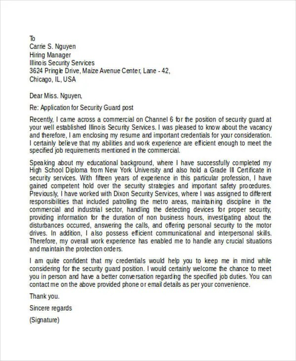 8 Security Guard Cover Letters Free Sample Example