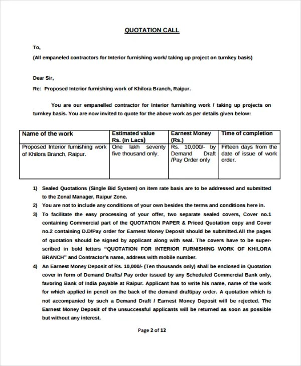 9 Contractor Quotation Templates PDF DOC Free