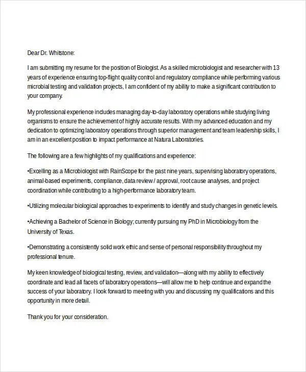 6 Biology Cover Letters  Free Samples Examples Format Download  Free  Premium Templates