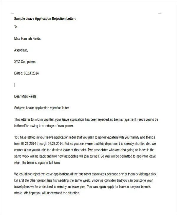 Application Rejection Letter 10 Free Word PDF Format