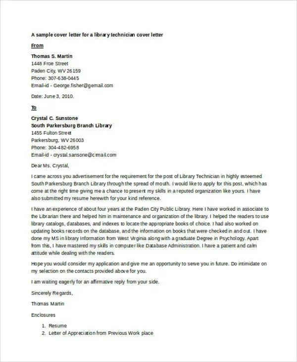 9 Librarian Cover Letter  Free  Premium Templates