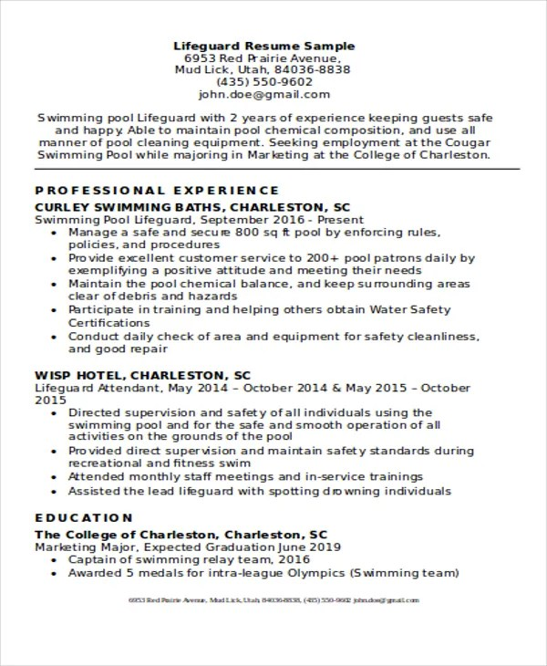 8 Lifeguard Resume Free Sample Example Format Download