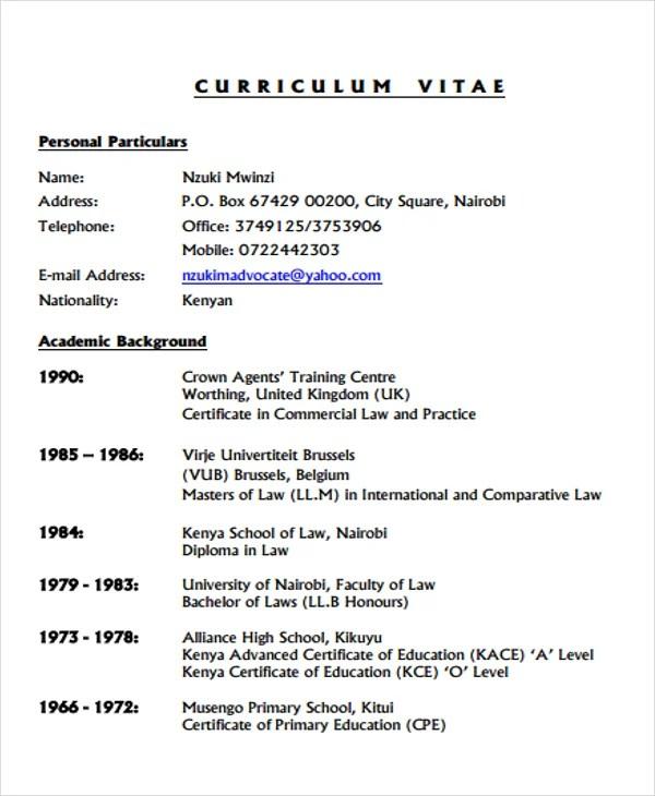 9 Legal Curriculum Vitae Templates Word PDF Free