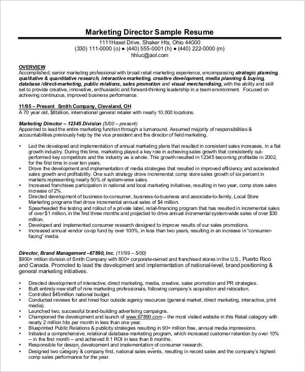 resume for director position sample