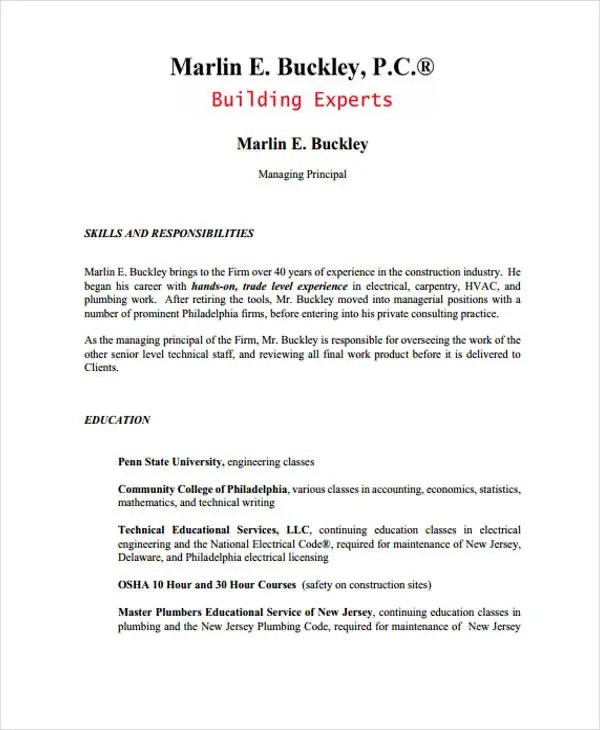 Plumbing Resume - Resume Sample
