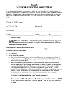 Medical director agreement template also templates free sample example format rh