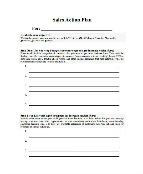 Action Plan Template Quarterly