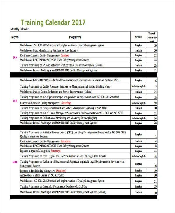training schedule calendar template