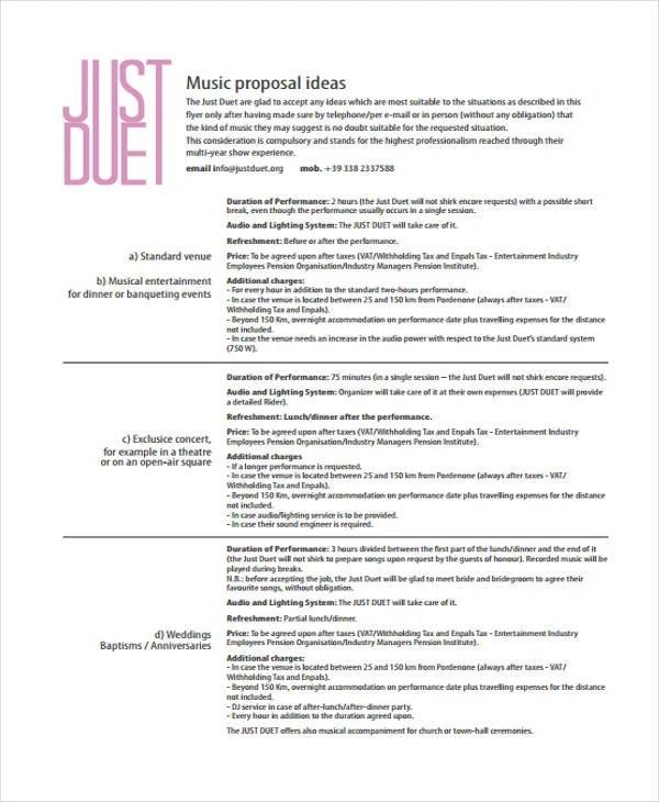 8 Music Business Proposal Templates Free Word PDF