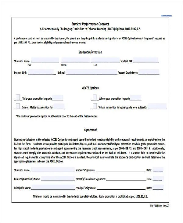 12+ Student Contract Templates - Free Sample, Example Format ...