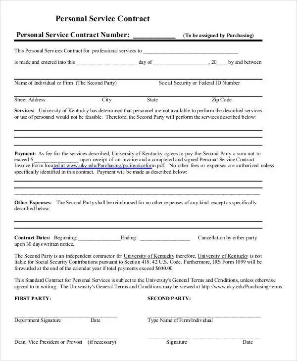 personal training contract templates