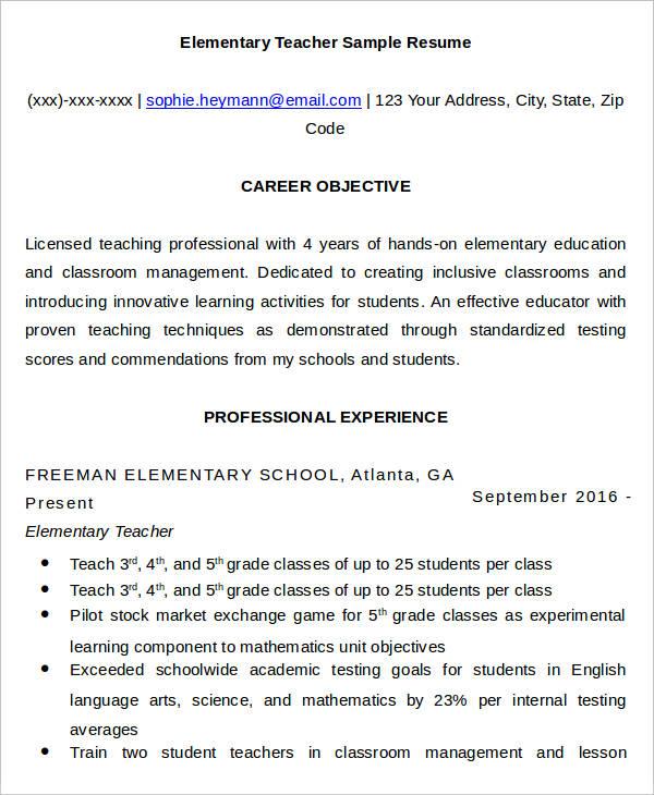 download free sample resume for teacher