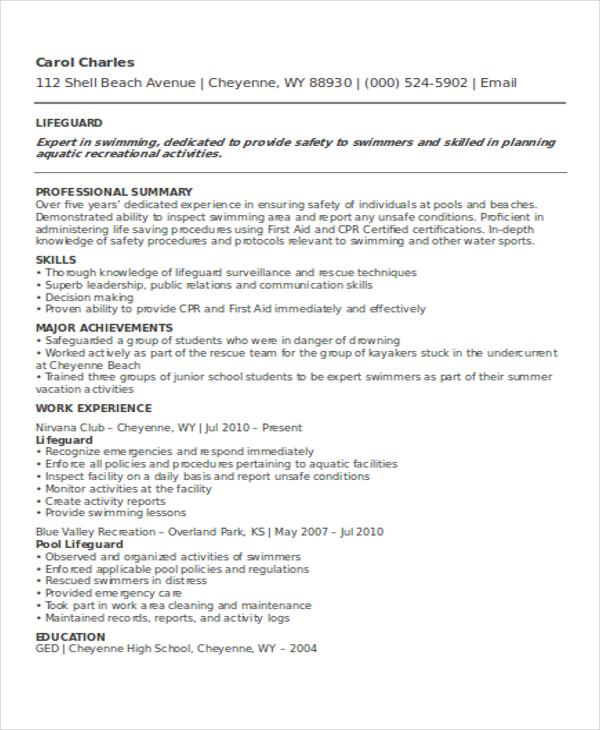 8 Lifeguard Resume Free Sample Example Format Download