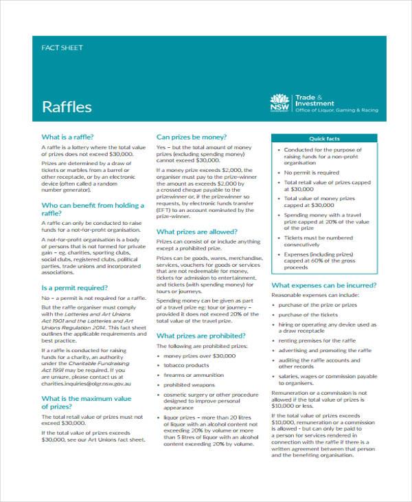 8+ Raffle Sheet Templates - Free Sample, Example Format Download ...