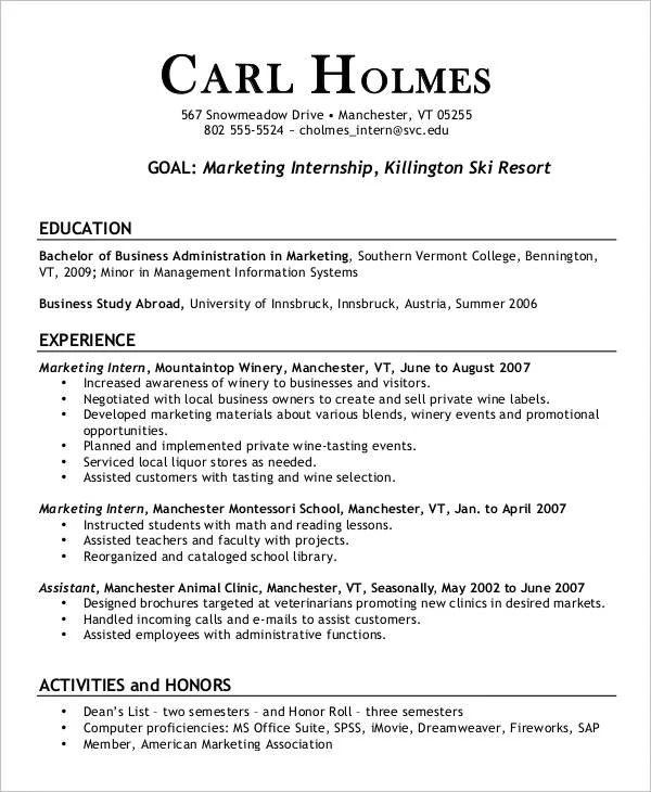 resume for marketing internship position