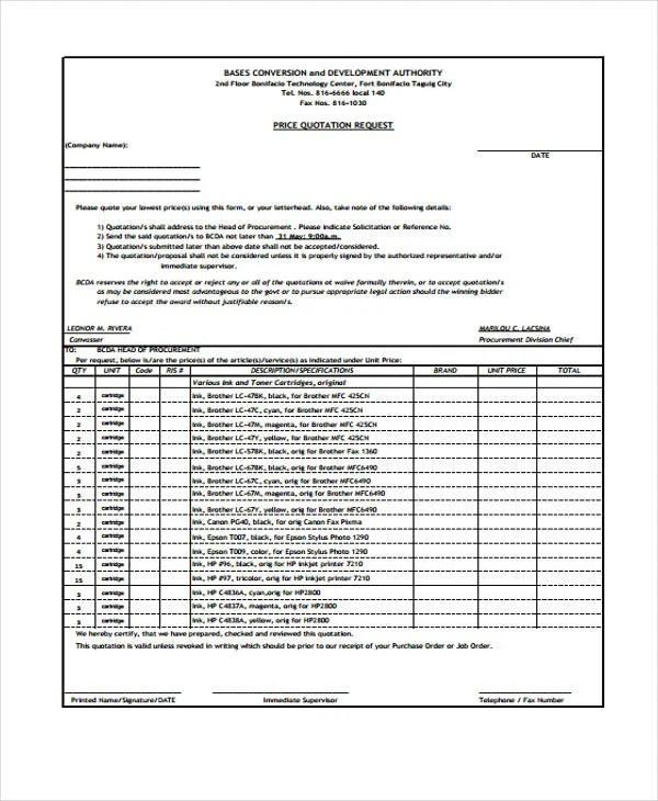 9 Price Quotation Templates PDF DOC Free & Premium