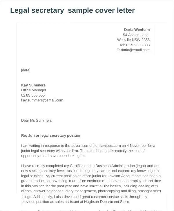legal covering letter example