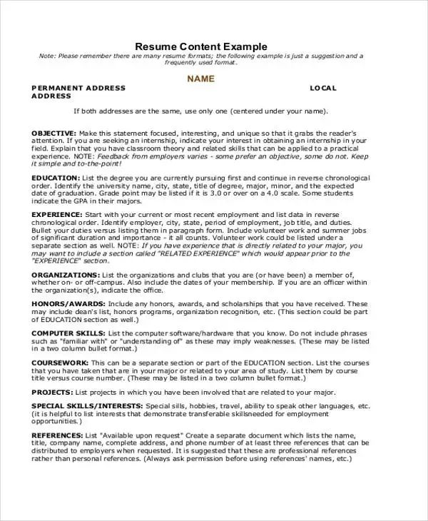 example of student resume for summer job
