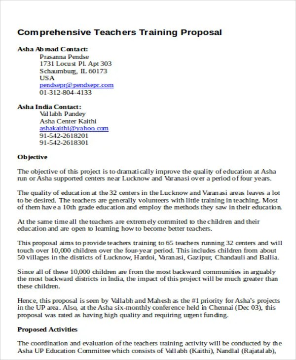 8 Training Project Proposal Templates Free Word PDF