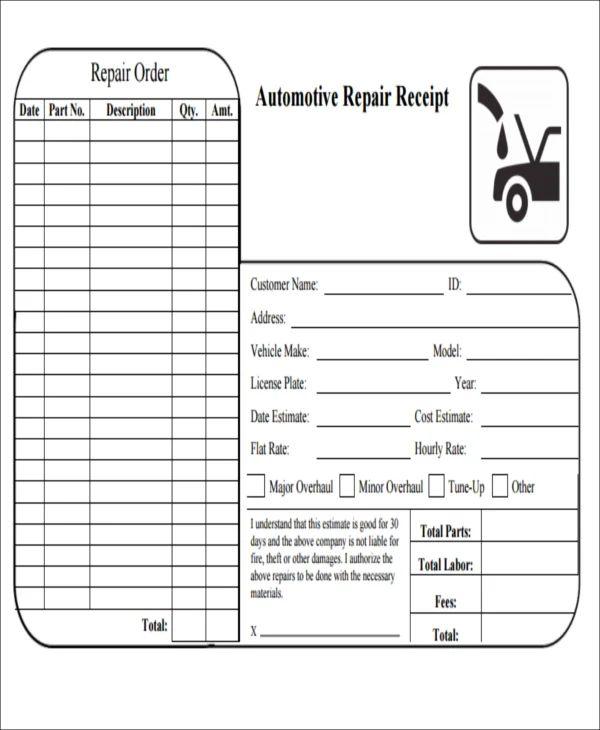 auto shop receipt