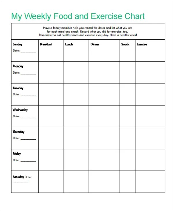 weekly food chart template