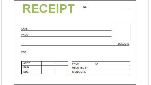 sample receipts forms