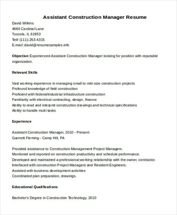 Construction Assistant Cover Letter - Cover Letter Resume ...