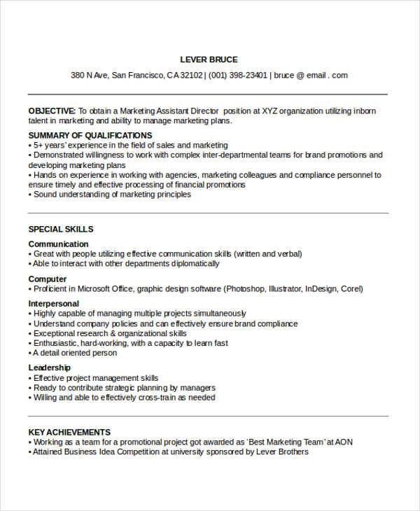 27 Marketing Resume Templates in PDF  Free  Premium