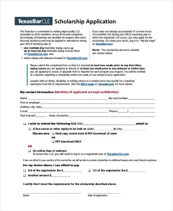 scholarship application template free