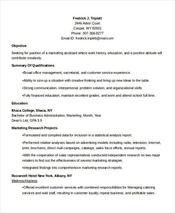 Marketing Student Resume - Resume Sample