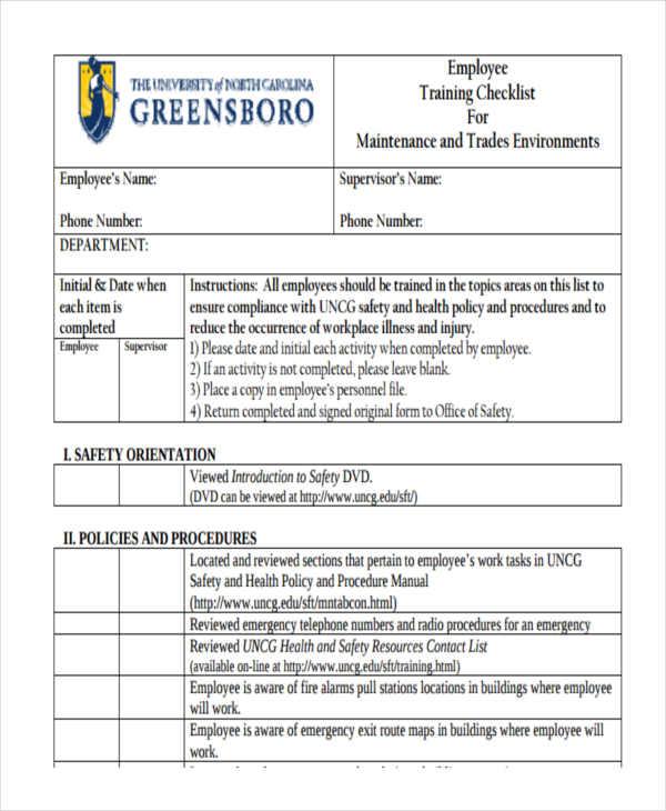 training a new employee checklist