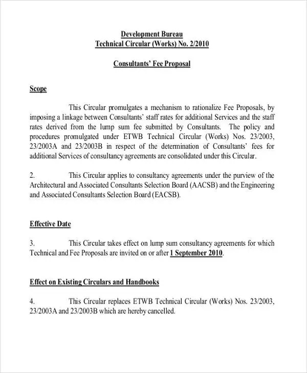 Fee Proposal Templates 11 Free Word PDF Format Download