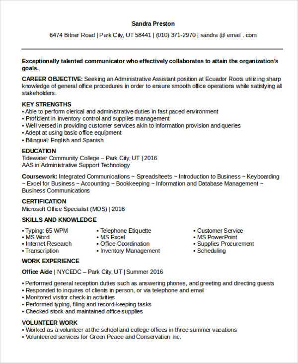 37 Professional Administrative Resume Templates PDF DOC Free Amp Premium Templates