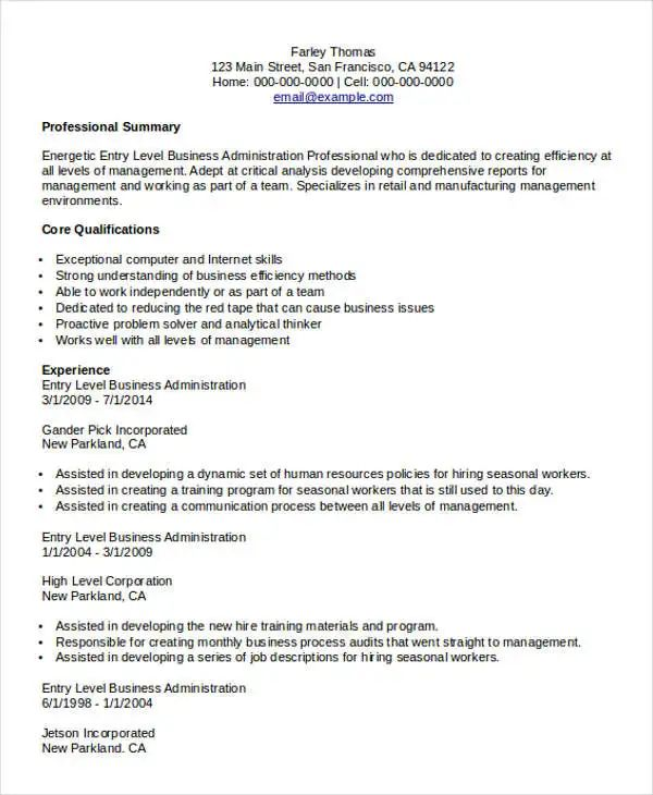 examples of entry level business resumes