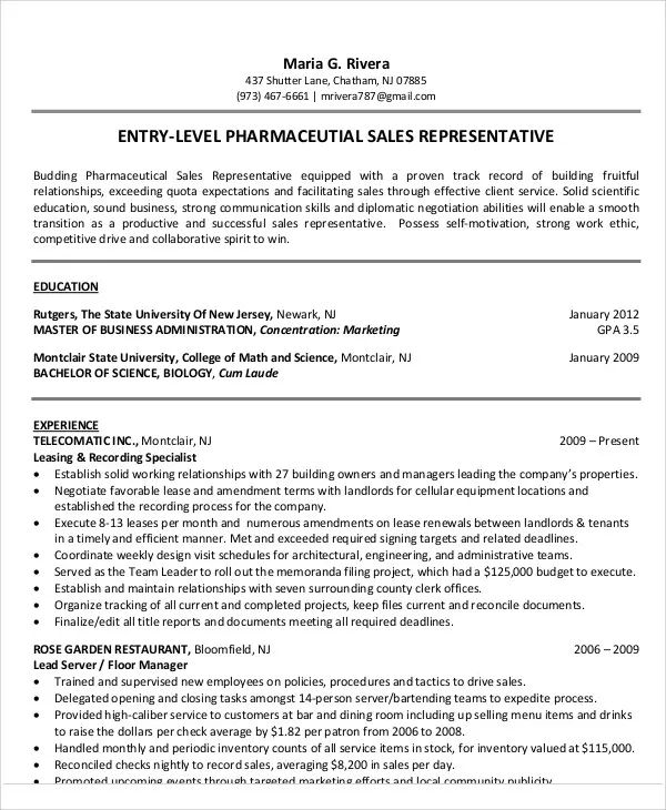 pharmaceutical sales resume template free
