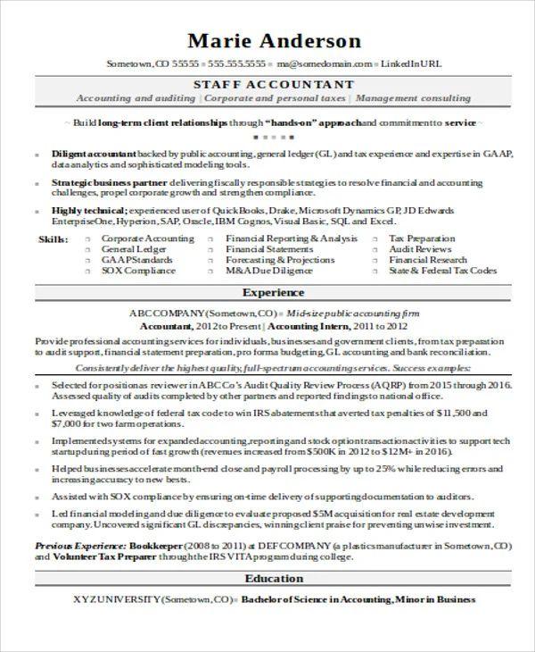resume sample pdf for accountant