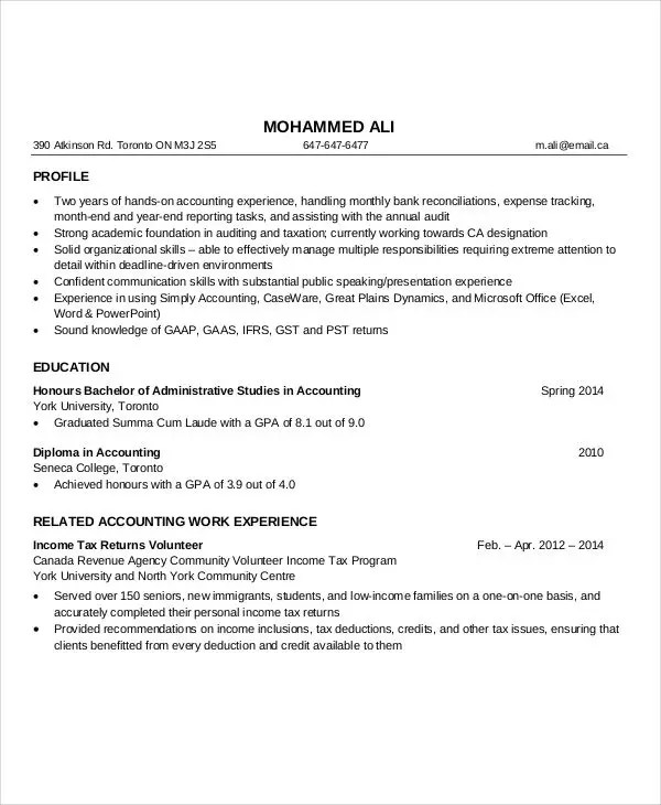 Accountant Resume Template Staff Accountant Resume Examples