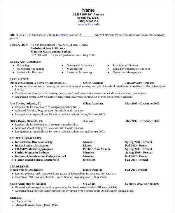 sample resume corporate